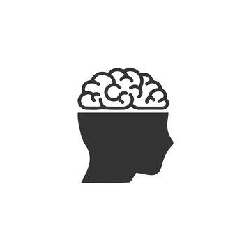 Human brain icon flat