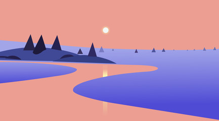 Nature landscape with sunset and reflection on river design.Vector illustration.Beautiful scene of nature.
