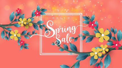 Spring Sale Banner with leaf and colorful flowers. Vector Design for your greetings card, flyers,  web banner , invitation, posters, brochure, banners, calendar, spring sale.