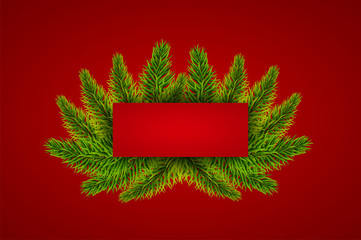 Red Christmas tree banner template. Sale pattern. New year invitation or card. Vector illustration