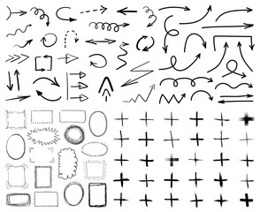 Collection of black hand drawn arrows,frames and plus symbols isolated on white background. Simple, grunge, sketch, modern style. Vector illustration