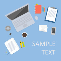 Office desk and workspace vector flat illustration
