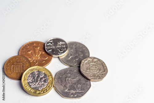 Close up of british coins / money  Currancy / banking concept