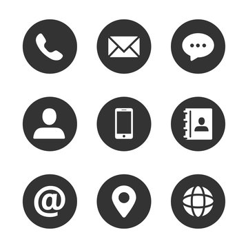 Contact us vector icons concept filled circle design