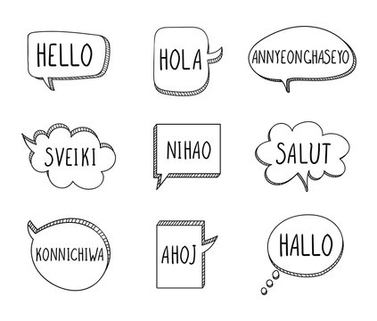Vector Talk Bubbles with Hellos on Different Languages: English, Spanish, Korean, Lithuanian, Chinese, French, Japanese, Czech, German, Isolated.