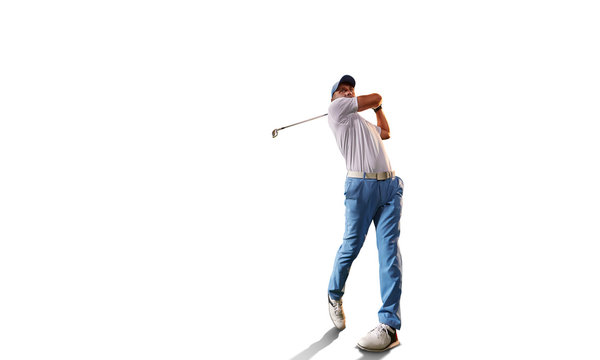 Male golf player on white background. Isolated golfer with golf club taking a shot