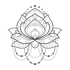 Lotus flower monochrome geometrical vector illustration is isolated on a white background. Symmetric decorative element with east motives for design. Version of the page for coloring