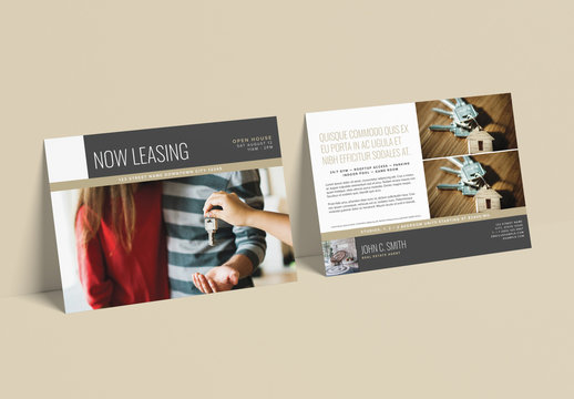 Bronze and Gray Now Leasing Postcard Layout