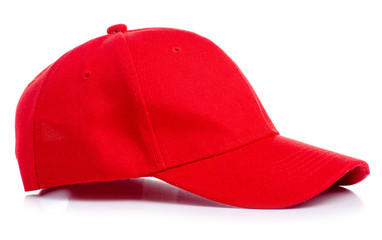 Red cap textile on white background isolation