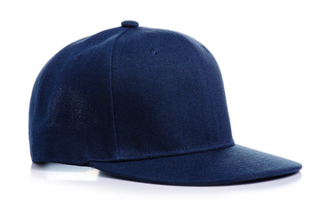 Blue cap textile on white background isolation