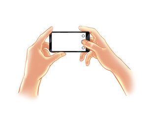 Men's Hands holding a smartphone with blank space, make a photo or selfie. Illustration, Color sketch a man with a cell phone takes picture, video, movie, promo post image for social networks