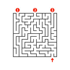 Abstract square maze. Game for kids. Puzzle for children. Find the right path. Labyrinth conundrum. Flat vector illustration isolated on white background.
