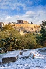 Fototapete - Die Akropolis von Athens, Griechenland, mit Schnee im Winter