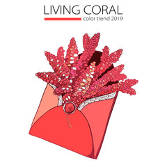 Vector drawing of outline Coral bunch in open craft envelope in trendy color of 2019 year isolated on white background. Branch of coral in contour style for summer design. Underwater tropical life.