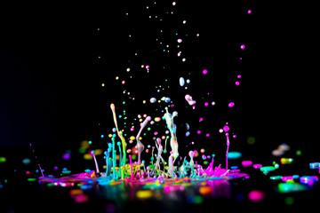 Fototapeta Dancing color ink on black background obraz