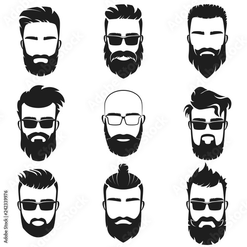 cc140cd58d2 Bearded stylish hipster men faces with different haircuts style ...
