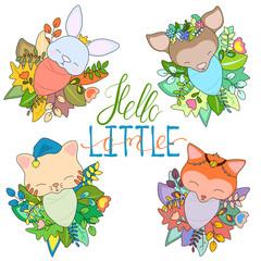 Newborn animal babies in seasonal floral wreath. Cute baby animal set vector illustration on white background