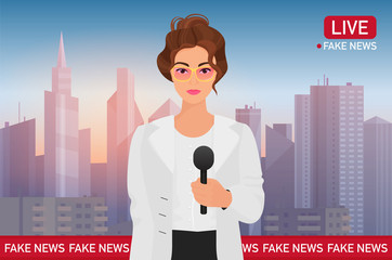 Anchorman pretty woman on city background. Media tv broadcast news. Fake Breaking News concept vector illustration.