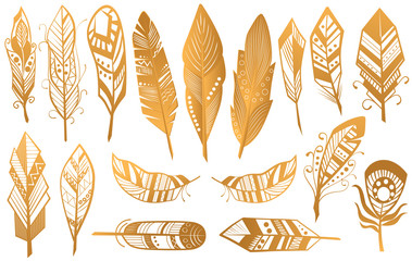 Wall Murals Boho Style Golden Luxury Tribal Feathers set. Gold boho ethnic collection isolated.