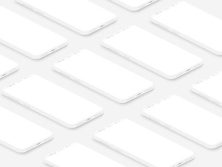 Soft isometric white isometric realistic smartphones with blank screens grid. Empty screen phone template for inserting UI interface or business presentation. Floating vector mock up design.