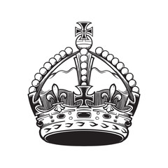 Filigree high detailed British imperial crown. Element for design logo, emblem and tattoo. Vector illustration isolated on white background Coloring book for kids and adults. EPS10 vector illustration