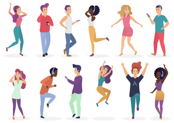 Diverse people dancing and listening music with headphones. Cartoon young guys and girls in casual clothes with audio players vector Illustration set.