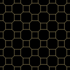 Gold chain square on black seamless vector background. eps10