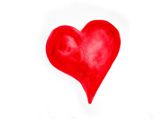 Watercolor red heart icon with splash closeup isolated on white background. Valentines day holiday card.