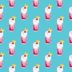 pattern with cocktail Sea Breeze Harvey Wallbanger Planter's Punch