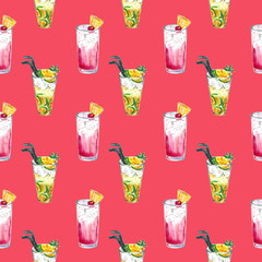 pattern with summer cocktail mojito and Planter's Punch, watercolor illustration