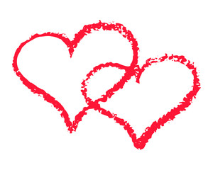 Two red hearts outline vector illustration on white background. St Valentine Day clipart. Chalk texture double heart