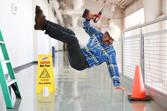 Contruction worker falling