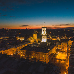 aerial view of capital building in center of european city at sunset in winter time. tourism