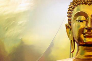 Foto auf AluDibond Buddha Head for Buddha on gold background