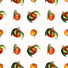 Seamless pattern with mandarins and leaves on white background. Drawing markers