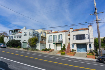 Street and houses in the residential part of San Francisco, California