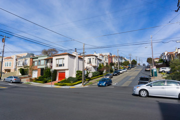 Street and houses in the residential area of San Francisco, California
