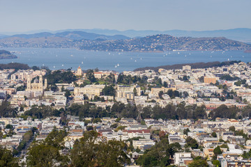 View towards Pacific Heights and Marina District neighborhoods; San Francisco bay and Belvedere in the background, San Francisco, California