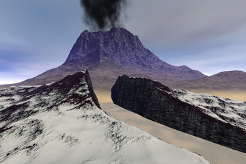 Volcano, a rocky landscape, smoke on the crater, snow in the gorge and a cloudy sky.