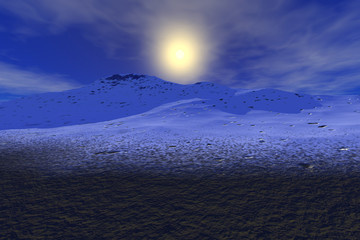 Mountain, a snowy landscape, grass on the ground and a bright sun in the sky.