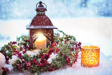 christmas lantern in snow