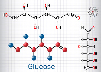 Glucose (dextrose, D-glucose) molecule. Linear form. Sheet of paper in a cage. Structural chemical formula and molecule model
