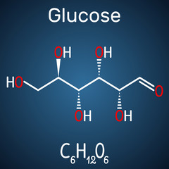Glucose (dextrose, D-glucose) molecule. Linear form. Structural chemical formula on the dark blue background