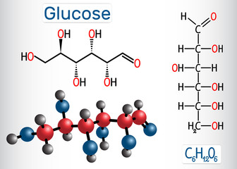 Glucose (dextrose, D-glucose) molecule. Linear form. Structural chemical formula and molecule model