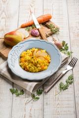 saffron risotto with pears