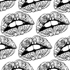 Vector pattern with  illustration of surreal lips made in hand drawn style. Tattoo art. Creative fairy artwork with elements of baroque. Template for card poster banner print for t-shirt.