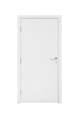 Isolated modern white door. Close-up inner side;