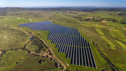 Aerial. Photovoltaic panels to produce electricity in Spain.