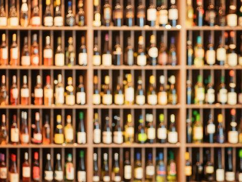 Wine bottle racks as defocused background