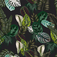 Wall Mural - Botanical seamless pattern black background